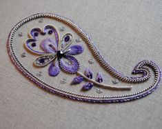 Decorative Silver Paisley Embroidery Kit