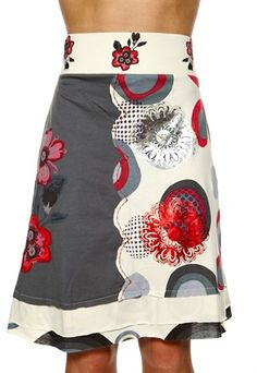 half and half split design skirt has solid on one side, pattern on the other; embroidery on both sides - I don't like this, but it's an interesting idea | ( desigual )