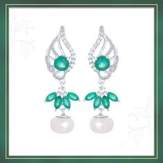 Green Onyx earrings with Cultured Pearl | Shipping across India