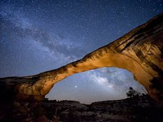 I want to learn this type of photography.  Natural Bridges National Monument, UT, a dark sky park.    Owachomo Bridge at Night, Utah.  Photograph by Jim Richardson