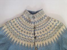 Vintage Norwegian Sweater / Very Feminine Icy Blue, Cream, Whisper Gray Fair Isle Nordic Pattern / William Schmidt Co. Oslo / Medium