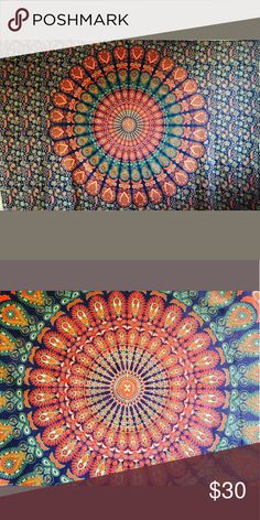 """Mandala Tapestry This gorgeous piece of art can be used as Bedspread, Bed Cover, Table Cloth, Curtain and as a Tapestry or a Wall Hanging.  80""""x54""""  Tags: magical, unicorn, ethnic, boho, Indian, mandala, bright, colorful, yoga Accessories Indian Mandala, Mandala Tapestry, Magical Unicorn, Yoga Accessories, Bedspread, Bed Covers, Ethnic, Art Pieces, Bright"""