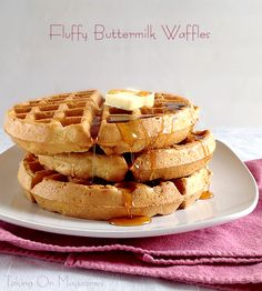 Fluffy Buttermilk Waffles | Fluffy Buttermilk Waffles are exactly what the title says; fluffy and tender on the inside and deliciously crispy on the outside. In other words, perfect.