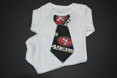 49ers Baby Tie Onesie by BrikayDesigns on Etsy, $9.75