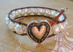 $32.00 boho, Thai silver heart with baroque pearls at 3DivasStudio at Etsy