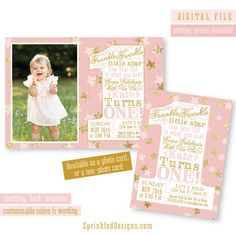 First Birthday Girl Invitation - Twinkle Little Star Gold Glitter Sparkle Blush Pink BIG ONE 1st Bday - CUSTOM Colors Printable Party Invite...
