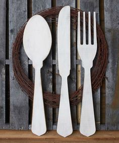 This Medium Unfinished Silverware Décor Set by Unfinished Wood Co. is perfect! #zulilyfinds