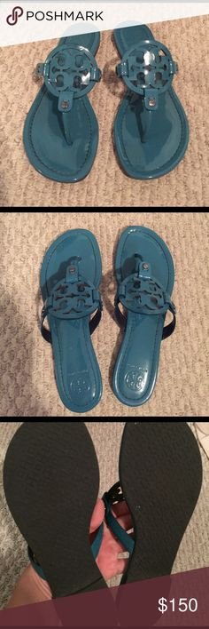 Tory Burch Electric Eel Miller Sandals Electric Eel (dark teal) Tory Burch Miller logo Sandals; 100% patent leather. Gently worn and still in great condition. No scratches or footprinting. Tory Burch Shoes Sandals