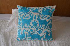 Blue Sky Organic Mexican pillow cover via Otomi Mexico, arte otomi, pillow otomi, otomi pillows, otomi mexico, blue otomi pillow, blue otomi pillow case, otomi cushion, otomi pillowcase, otomi blanket, otomi bedspread, bedspread, otomi cover, otomi sheet, otomi decor pillow, otomi light blue pillow, mexican pillow, blue mexican pillow www.otomimexico.com