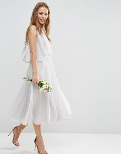 Image 1 of ASOS WEDDING Dress with Soft Double Layer