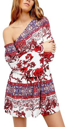 Free People Red Printed White Fit And Flare Floral Mini Xs New Dress