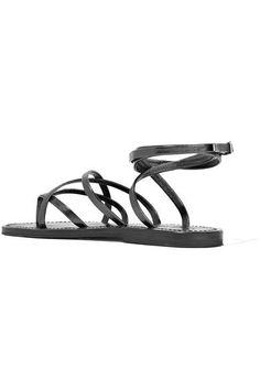 K Jacques St Tropez - Zenobie Metallic Leather Sandals - Gunmetal - IT42