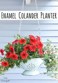Garden Plans Not only is an enamel colander cute, but it is PERFECT for upcycling into a hanging basket for your porch. Heavy and sturdy, it already has built-in drainage holes. AND this tutorial shows you how easy it is to upcycle as a planter. Hanging Flower Baskets, Basket Planters, Diy Hanging, Diy Planters, Fall Planters, Planter Ideas, Hanging Planters, Garden Projects, Garden Ideas
