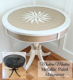 -------pinning this for my sister - she has a table much like this that could maybe use a makeover ---- Modern Masters Metallic Paint Makeover with Oyster & Warm Silver Paint Furniture, Furniture Projects, Furniture Making, Furniture Makeover, Modern Masters, Metallic Paint, Repurposed Furniture, Decoration, A Table