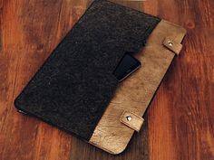 Felt leather laptop sleeve for Toshiba chromebook 13.3 14 by ICSKY