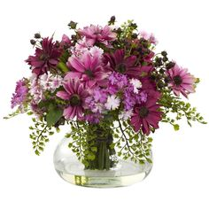 Large Mixed Daisy Arrangement - Truly an irresistible selection to all that view them, daisies have been known to make any garden simply pop with color. Now, they can make a statement as one of your finest centerpieces! Understated, yet elegant, these lovely little flowers brighten any room with their refined colors and gentle petals. Working well with any decor and set in decorative vase with faux water, this charming selection of flowers will be the highlight of any setting. Number of…