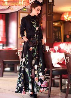 Cotton Blends Floral 1011975/1011975 Sleeves Maxi Casual Dresses (1011975) @ floryday.com