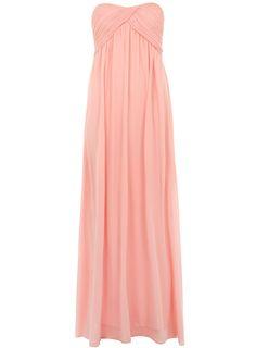 Prom pink chiffon strapless maxi. Ruche pleat bandeau top, empire line.
