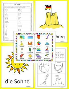 German Summer Beach Vacation - Am Strand - 76 pages of flashcards, write around the room, word wall, handouts, crossword, anagrams, word search, bingo, flip book, matching activity to teach German words for talking about the beach; great for elementary students.