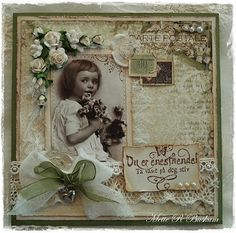 Gorgeous hand scrapped page with lace bows and flowers.