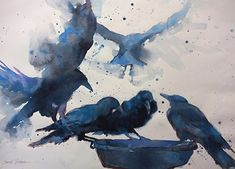 Crow Caucus II by Sarah Yeoman Watercolor ~ 18 x 24