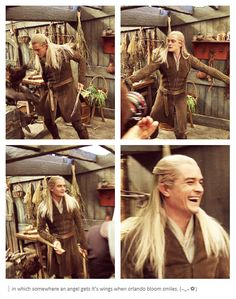 Orlando Bloom behind the scenes of The Hobbit... and the comment is accurate.