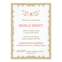 Burlap Bridal Shower Invitation