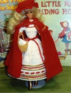 CROCHET FASHION DOLL PATTERN-#140 LITTLE RED RIDING HOOD
