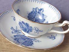 Antique blue roses tea cup and saucer set, vintage Royal Chelsea English bone china tea set, blue and white tea cup, .