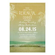 beach sea waves and  palms rehearsal dinner invitation
