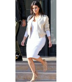 @Who What Wear - Kim Kardashian                 Show off your killer curves in a body-conscious knit version a la Kim Kardashian in Wolford's Marino Rib Dress ($795), Acne Studios jacket, and Aquazurra Sloan Tie Back Sandals ($625). Just be sure to stick to neutral accents, as to not take away from your dress.