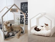 This amazing photo is definitely a very inspirational and superior idea Unique Dog Beds, Cute Dog Beds, Diy Dog Bed, Pet Beds, Indoor Dog Area, Cat Hotel, Pet Corner, Animal Room, Dog Rooms