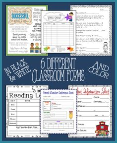 Set of helpful and convenient elementary classroom forms. Great back to school resource! Parent Tips for Their Child's Success, Student Information Sheet, Reading Log, Weekly Report, Accelerated Reader Parent Form Letter, Parent/Teacher Conference Sheet