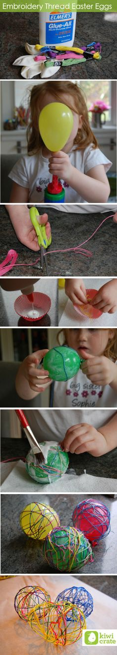 Easy kid-friendly easter eggs using balloons and embroidery thread ( via Kiwi Crate)    http://www.kiwicrate.com/blog/3750/embroidery-thread-easter-eggs/