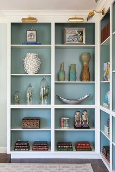 bookshelves with overhead lighting (House of Turquoise: House of Ruby Interior Design) Painted Back Bookshelves, Creative Bookshelves, Built In Shelves, Book Shelves, Paint Bookshelf, Built Ins, Painted Shelving, Blue Bookshelves, Painting Bookcase