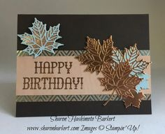 Leaves from the Stampin' Up! Seasonal Layers thinlits, words from the SU! Window Shopping stamp set