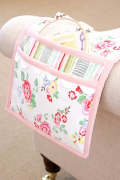 MessyJesse: Organised Embroidery...what a neat idea for nursing homes. All ladies need something pretty to hang on their chairs.