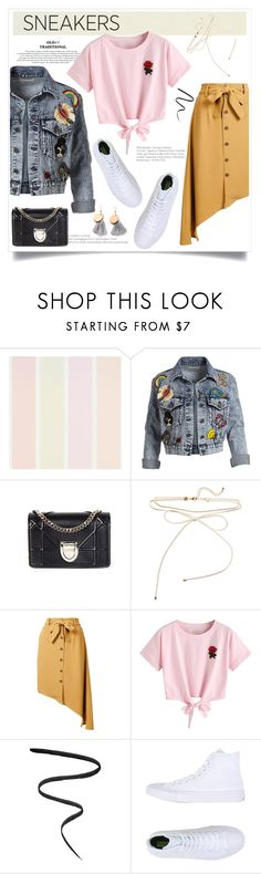 """White Sneakers"" by izmlr ❤ liked on Polyvore featuring Alice + Olivia, Christian Dior, Tome, WithChic, Smith & Cult and Converse"