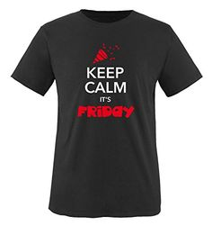 Comedy Shirts - KEEP CALM IT'S FRIDAY - hombre T-Shirt camiseta - negro / blanco-rojo tamaño S #camiseta #realidadaumentada #ideas #regalo