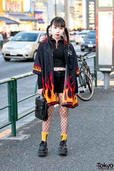 Flames, Creepers & Fishnets in Harajuku w/ More Than Dope & . - Flames, Creepers & Fishnets in Harajuku w/ More Than Dope & .- Flames, Creepers & Fishnets in Harajuku w/ More Than Dope & Never Mind the XU - - ? Tokyo Fashion, Japan Street Fashion, Tokyo Street Style, Korean Street Fashion, Harajuku Fashion, Grunge Fashion, Look Fashion, Tokyo Style, Harajuku Style