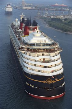 The Disney Wonder Pulls into Port Canaveral, Florida, Behind its Sister Ship the Disney Magic, for the First Time Back in 1999