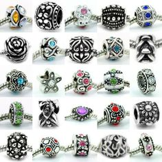 Ten (10) Beads of Assorted Mix (Style May Differ From Picture) Fits Pandora, Biagi, Troll, Chamilla and Many Others. Pro Jewelry. $10.99. Rhinestones, 10 Mixed Charms And Spacers One Of Each Kind. Fits: All major Brand Bracelets, such as Pandora, Chamilia, Carlo Biagi, Zable, and other Beads. Quantity: 10 Beads. Material: Beautiful Silver Plated Antique'd Bead slide on Cores(not threaded)
