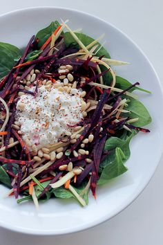 Cottage cheese, Rainbow Carrots and Spinach | by Salad Pride