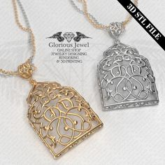 3D STL file / Pendant / with bail / Without stone / Persian style