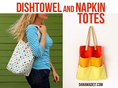 Tote made from dishtowel and dinner napkins.  Pretty cute--lots of possibilities!