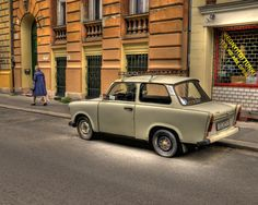 Woman and Trabant - Budapest, Hungary Budapest Hungary, Community, Gray, Woman, Gallery, Photography, Photograph, Roof Rack, Grey
