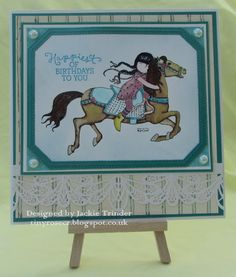 Tinyrose's Craft Room: Fantasy Stampers - All About the Girl made with the Docrafts Gorjuss Runaway stamp set Unicorn Horse, Next Week, Red S, Little Red, Hobbies And Crafts, Card Holders, Rabbits, Unicorns, I Card