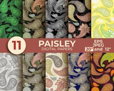 Paisley Digital Paper Seamless Pattern Digital Scrapbook Paper | Etsy Digital Scrapbook Paper, Digital Papers, Diy Invitations, Paisley Pattern, Printable Paper, Vector Background, Textile Prints, Craft Projects, Clip Art