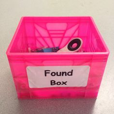 This little box has prevented so many unnecessary interruptions. Now, when my students find something on the floor, or they don't know where something goes, THEY JUST PUT IT IN THE FOUND BOX!!!