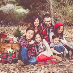 Photography by Lydia family pictures Christmas picnic plaid gold red